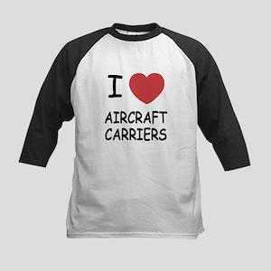 I heart aircraft carriers Kids Baseball Jersey