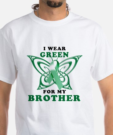 I Wear Green for my Brother White T-Shirt