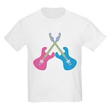 Guitar Rock Pink N Blue Kids Light T-Shirt