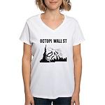 Octopi Wall Street Women's V-Neck T-Shirt