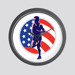 American Marathon runner Wall Clock