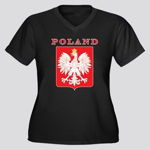 Poland Eagle Red Shield Women's Plus Size V-Neck D