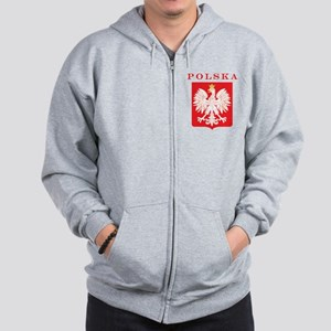 Polska Eagle Red Shield Zip Hoodie