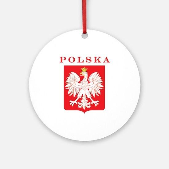 Polska Eagle Red Shield Ornament (Round)