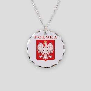 Polska Eagle Red Shield Necklace Circle Charm