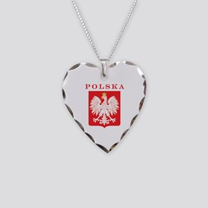 Polska Eagle Red Shield Necklace Heart Charm