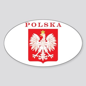 Polska Eagle Red Shield Sticker (Oval)