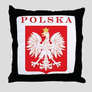 Polska Eagle Red Shield Throw Pillow
