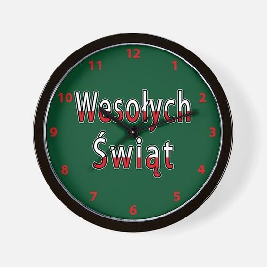 Wesolych Swiat Flag Wall Clock