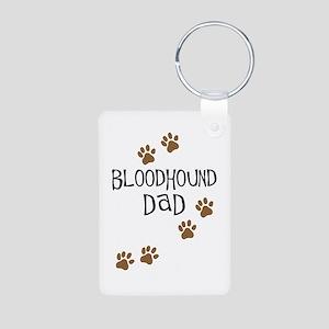 Bloodhound Dad Aluminum Photo Keychain