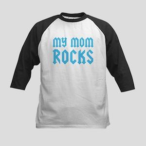 My Mom Rocks Blue Kids Baseball Jersey
