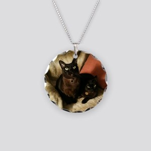 Burmese Cats on chair - Necklace Circle Charm