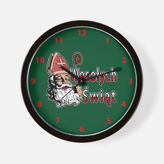 Wesolych Swiat St. Nicholas Wall Clock