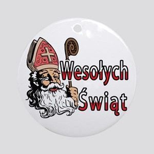 Wesolych Swiat St. Nicholas Ornament (Round)