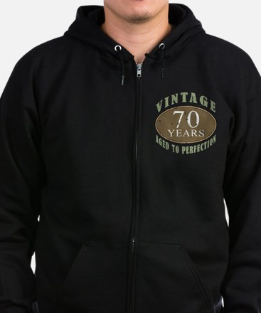 Vintage 70th Birthday Zip Hoodie (dark)