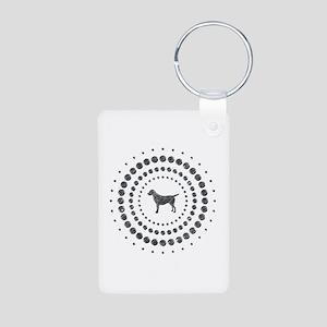 Dog Chrome Studs Aluminum Photo Keychain
