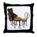 Teddy Bear Bistro Setting Throw Pillow