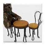 Teddy Bear Bistro Setting Tile Coaster