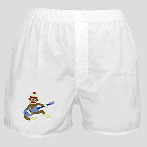 Sock Monkey Blue Guitar Boxer Shorts