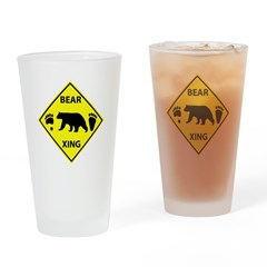 Bear and Tracks XING Drinking Glass