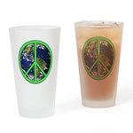 Earth Peace Symbol Drinking Glass
