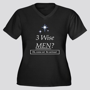 3 Wise Men? Oh, Come On! Women's Plus Size V-Neck