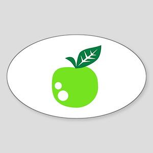 Green apple Sticker (Oval)