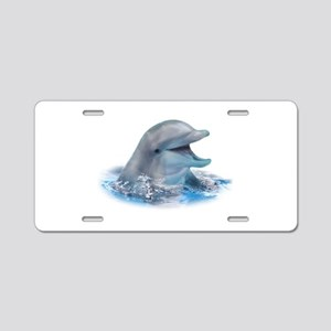 Happy Dolphin Aluminum License Plate
