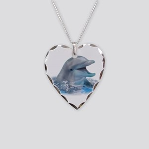 Happy Dolphin Necklace Heart Charm