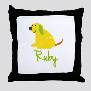 Ruby Loves Puppies Throw Pillow