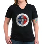 We Occupy 99% Women's V-Neck Dark T-Shirt
