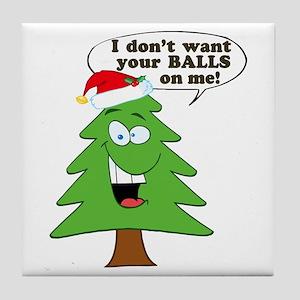 Funny Merry Christmas tree Tile Coaster