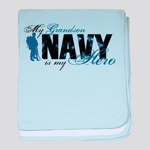 Grandson Hero3 - Navy baby blanket
