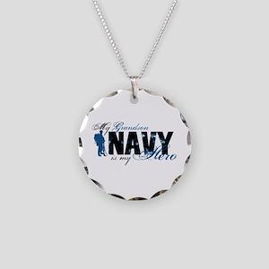 Grandson Hero3 - Navy Necklace Circle Charm