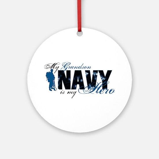 Grandson Hero3 - Navy Ornament (Round)