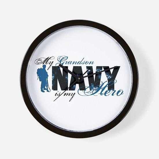 Grandson Hero3 - Navy Wall Clock