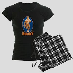 rugby player retro Women's Dark Pajamas
