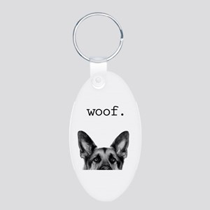 woof Aluminum Oval Keychain