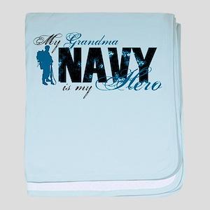 Grandma Hero3 - Navy baby blanket