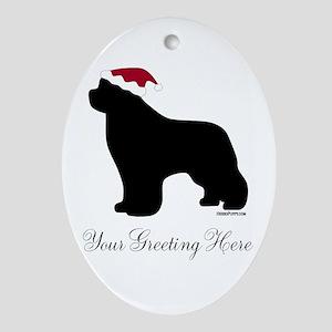 Newf Santa - Your Text Ornament (Oval)