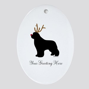 Reindeer Newf - Your Text Ornament (Oval)