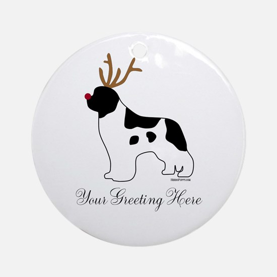 Reindeer Landseer - Your Text Ornament (Round)