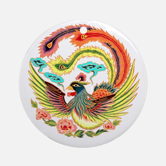 Asian Dragon or Phoenix Ornament (Round)