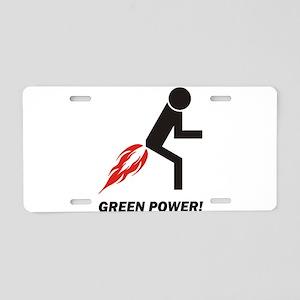 Green Power Aluminum License Plate