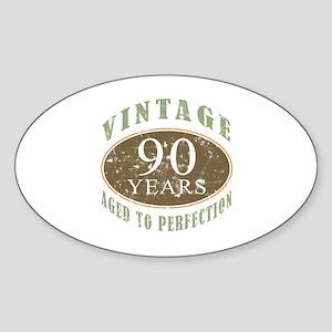 Vintage 90th Birthday Sticker (Oval)