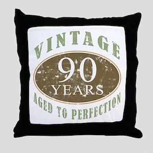 Vintage 90th Birthday Throw Pillow