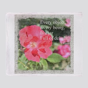 Rumi Quote Painted Rose Throw Blanket