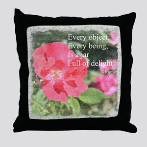 Rumi Quote Painted Rose Throw Pillow
