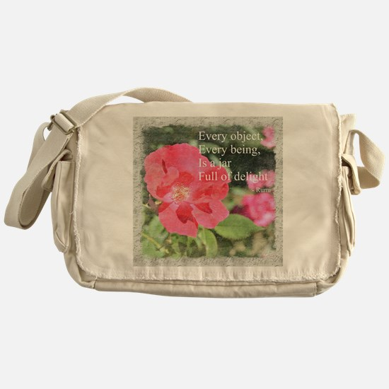 Rumi Quote Painted Rose Messenger Bag
