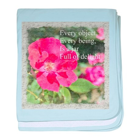 Rumi Quote Painted Rose baby blanket